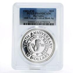 Barbados 10 Dollars 10th Anniversary Of Central Bank Pr69 Pcgs Silver Coin 1982