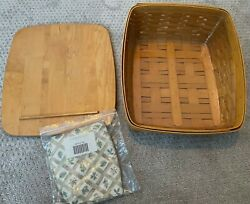 Longaberger Tapered Paper Tray Medium Bin Basket, Lid, Protector And Fabric Liner