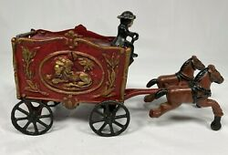 Vintage Cast Iron Circus Wagon With 2 Horse Team - Lion Cage