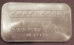 Vintage Englehard .999 Pure Silver Bar. 1 Oz. Frosted Back, Free Shipping