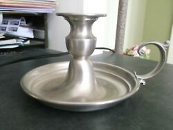 Early American Pewter By Web, Chamberstick Single Candle Holder Finger Loop, Euc