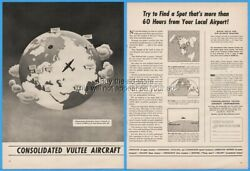 1943 Consolidated Vultee Aircraft Wwii Globe Find A Spot More Than 60 Hours Ad