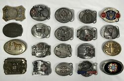 Vintage Belt Buckle Collection 20 Pc. Includes Dollar Coin. Cowboys And Vfw