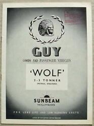 Guy Wolf 2-3 Tonner Petrol Engine Commercial Sales Brochure Aug 1952 Wfc 8/52