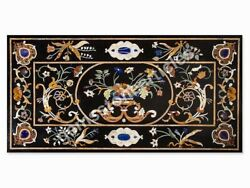 Marble Black Conference Dining Table Top Pietra Dura Inlay Marquetry Furniture