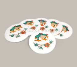 Marble Coaster Plate Multi Stone Frog Design Handmade Collectible Gift Her Décor