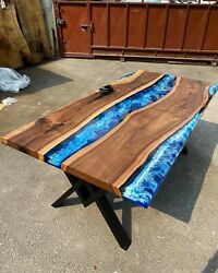 Blue Resin Top Dining Table Acacia Wooden Handmade Decorative Office Desk Décors
