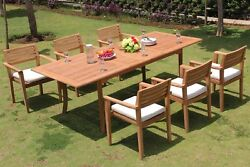 Sale Montana A-grade Teak 7pc Dining 94 Rectangle Table Stacking Arm Chair Set