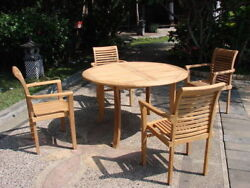 Sam A-grade Teak 5 Pc Dining 52 Round Table 4 Stacking Arm Chair Set Patio New