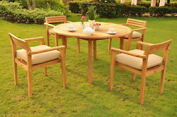 Sale Montana A-grade Teak Wood 5pc Dining 52 Round Table Stacking Arm Chair Set