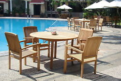 Wave A-grade Teak 5 Pc Dining 52 Round Table 4 Stacking Arm Chair Set Patio New