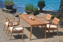 A-grade Teak 5pc Dining 60 Rectangle Table 4 Vellore Stacking Arm Chair Set
