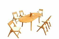 A-grade Teak 7pc Dining 94 Oval Table Surfliner Folding Reclining Chairs Set