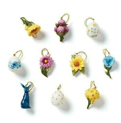 Lenox Floral Easter Tree Ornaments Miniature Set Of 10 Bunny Egg Flowers New