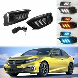 For Honda Civic 2019+ Drl 3 Color Led Day Light Mustang Style Dynamic Turn Lamp