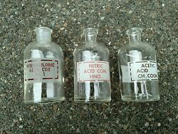 3 Vintage Pyrex Hydrochloric Acid And Nitric Acid And Acetic Acidapothecary Bottle
