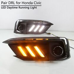 For Honda Civic 2019 2020 Led Drl Day Light Mustang Style W/ Dynamic Turn Signal