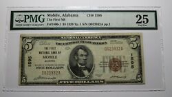 5 1929 Mobile Alabama Al National Currency Bank Note Bill Charter 1595 Vf25