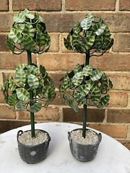 """Antique Pair French Tole Metal 2 Ball Topiary 15.5"""" Tree Statue"""