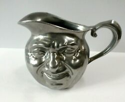 Rare Vintage 6.5 Sunny Jim Reed And Barton Savvy Smiling Faces Pewter Jug Pitcher