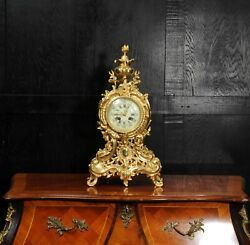 Large Antique French Gilt Bronze Rococo Clock By A D Mougin
