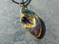 Pendant Silver And Gold 18 And 24 Ct 2 Opals Black Australia And 1 Iolithe