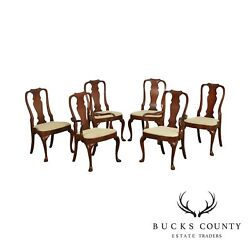 Hickory Chair Mahogany Queen Anne Style Set 6 Dining Chair