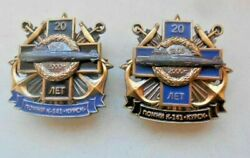 Lot Of 2 Russian Naval Badge Atomic Submarine K-141 Kursk 20 Years Of Tragedy