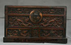 16 Ancient Wood China Dynasty Hand Carved Dragon Phoenix Cabinet Box Chest