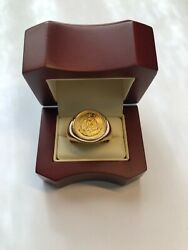 14kt/22kt Yellow Gold 2.5 Mexican Pesos Coin Ring Size 11.75