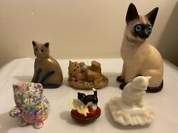 BBP Beaumont Brothers Siamese Vintage Ceramic Cat Figurines Lot of Six