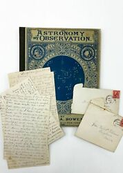 Eliza A Bowen / Astronomy By Observation With Original Handwritten Letters 1890