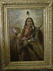 Large Masterpiece Troy Denton Oil Painting Western Art American Indian 24 X 36