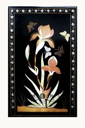 Black Marble Grand 33x23 Inches Dining Table Top Butterfly Inlay Outdoor Decor
