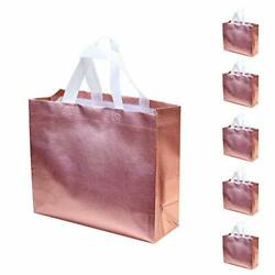 OEEAU 5 Pcs Gift Bags Rose Gold Bags Present Bags Glossy Reusable Gift Bags f... $19.44