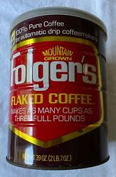 Vntg Folgers Flaked Coffee 39 Oz Tin W/original Plastic Lid Brown Red White Gold