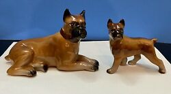 Vintage Momma And Puppy Boxer Dog Figurines Porcelain Made In Japan EXCELLENT