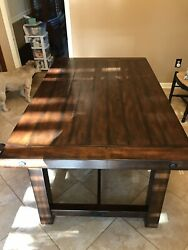 Pottery Barn Benchwright Dining Table With Bench - Mahogany Color