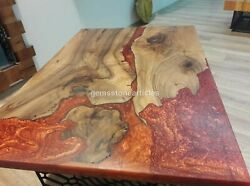 Red Resin River Dining Custom Table Acacia Wooden Handmade Design Furniture Deco