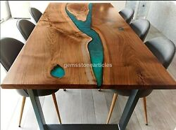 Green Resin Dining Office Meeting Table Acacia Wooden Handmade Interior Decors
