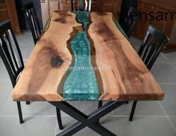 Wooden Acacia Handmade Dining Center Coffee Table Decorative Green Resin Décors