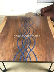 Blue Resin Lining River Wooden Handmade Sofa Top Table Decorative Furniture Deco
