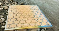 Blue And Yellow Resin Honey Cubes Design Dining Center Top Table Living Dandeacutecor