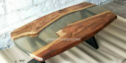 Clear Resin River Center Sofa Table Top Handmade Royal Furniture Oval Shape Deco