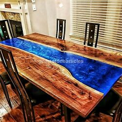 Blue Resin River Dining Side Table Acacia Wood Handmade Counter Table Furniture