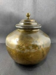 Antique Brass Water Pot Hand Crafted Beautiful Pot With Cap Kitchenware Old