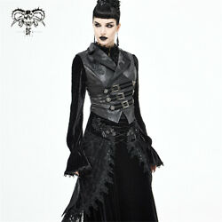 Gothic Three Rows Flocked Belts Suit Collar Leather Black Women Swallowtail Vest