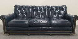 Hancock And Moore Chesterfield Navy Blue Leather 3 Seat Sofa