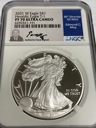 2021 W Proof Silver Eagle Ngc Pf70 Ultra Cameo Edmund Moy T-1