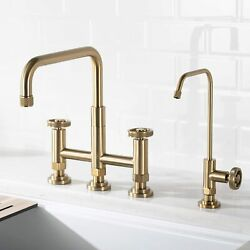 Urbix Industrial Two Handle Bridge Kitchen Water Filtration Faucet Brushed Gold